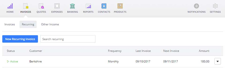 Your recurring invoices tab is found under your 'Invoices' tab in your Debitoor invoicing software account
