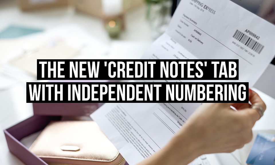 The new 'Credit Notes' tab with independent numbering