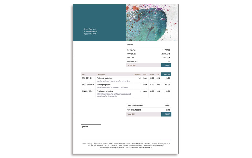 A sample of an invoice design with a bit more colour, created with Debitoor invoice designer.