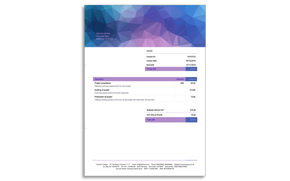 An example of a simple, elegant invoice design created with Debitoor invoicing software.