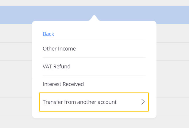 The window that allows you to mark a transfer between two bank accounts in Debitoor