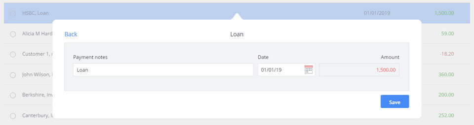 The loan account selected as the transfer account, with the loan balance in red, indicating a negative balance