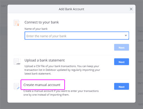 The window for creating a new bank account in Debitoor invoicing software