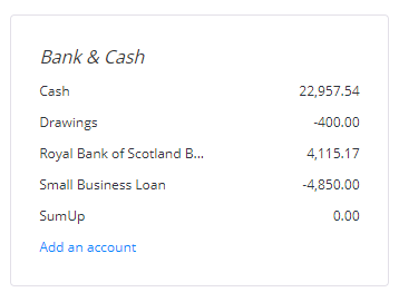 View your bank accounts and balances at a glance from your dashboard