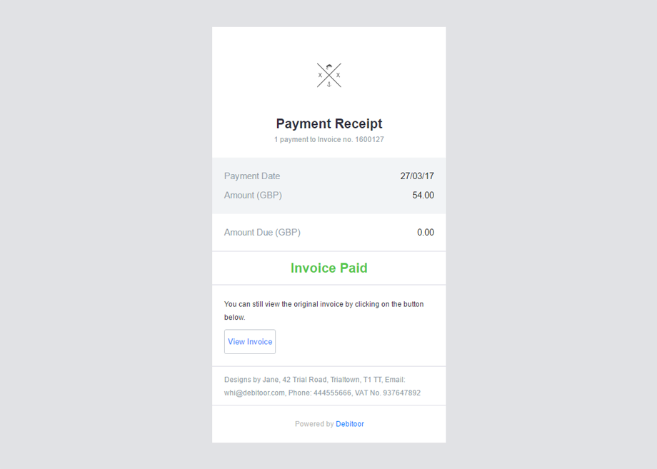 How your payment receipt will appear in your customer's email inbox