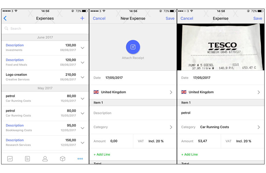 record expenses from your iphone debitoor invoicing software