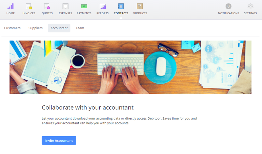 Invite your accountant to your Debitoor account to start collaborating right away