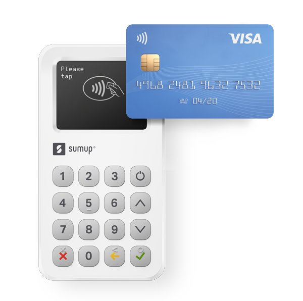 A SumUp card reader, which make it easy to take instant payments on the spot, and which integrates with Debitoor invoicing software