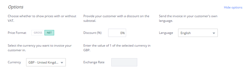 Select your price format, add a discount, or change the language and currency of your invoice template