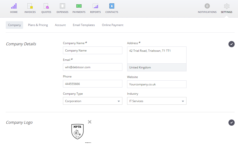 Add Company Details And Create An Invoice Debitoor Tutorials - Invoice details