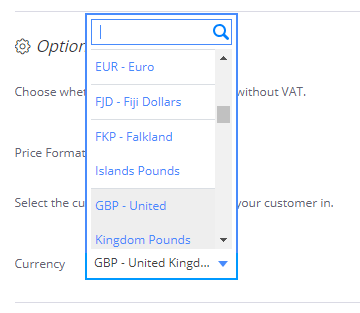 Image of Debitoor desktop app currency dropdown menu
